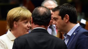 (From L) German Chancellor Angela Merkel, French President Francois Hollande, and Greek Prime Minister Alexis Tsipras confer prior to the start of a summit of Eurozone heads of state in Brussels on July 12, 2015. The EU cancelled a full 28-nation summit to decide whether Greece stays in the European single currency as a divided eurozone struggled to reach a reform-for-bailout deal.  AFP PHOTO / JOHN MACDOUGALL